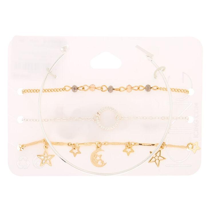 Mixed Metal Celestial Bracelets - 4 Pack,