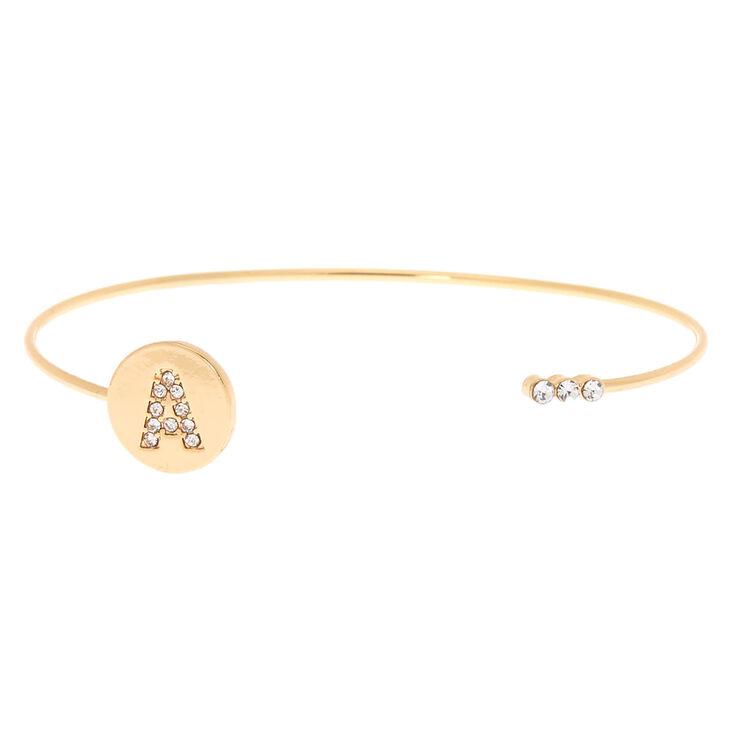 Gold Initial Cuff Bracelet - A,
