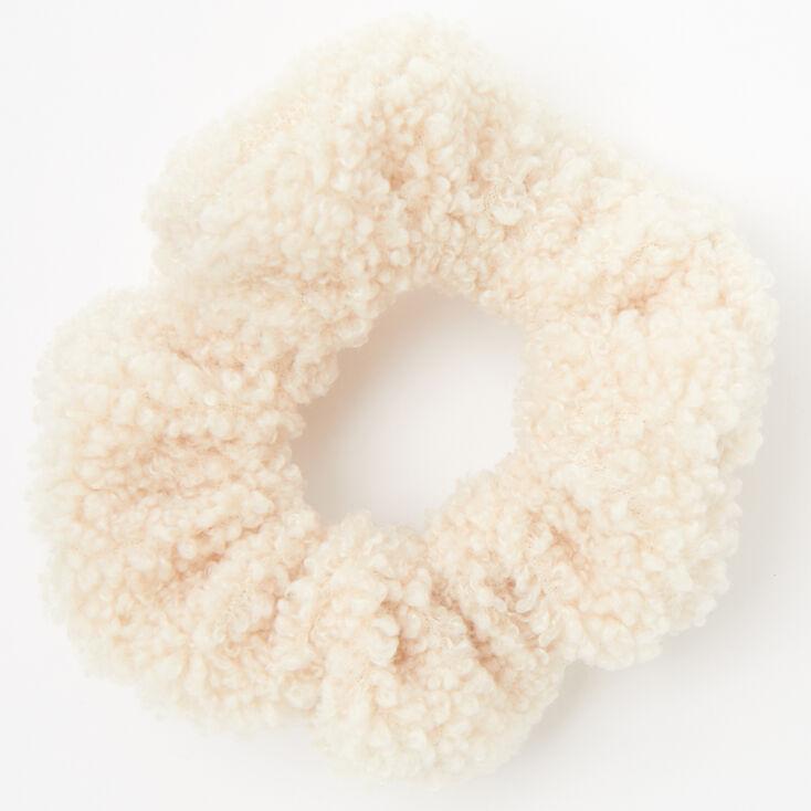 Medium Teddy Hair Scrunchie - Ivory,
