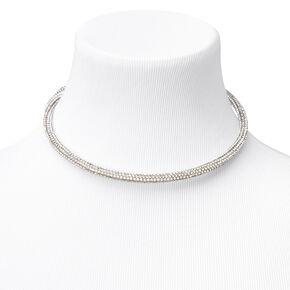 Silver Pave Rhinestone Collar Choker Necklace,