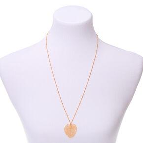 Gold Palm Leaf Long Pendant Necklace,