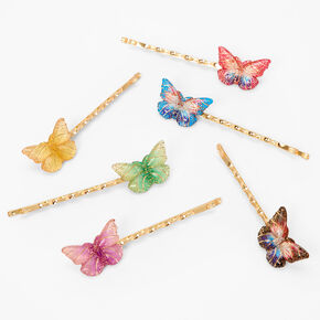 Gold Jewel Tone Butterfly Hair Pins - 6 Pack,