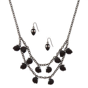 Hematite Skull Jewelry Set - Black,