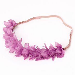 Flower Petal Braided Headwrap - Berry,