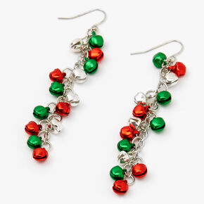 "Silver 3"" Mixed Jingle Bell Drop Earrings,"