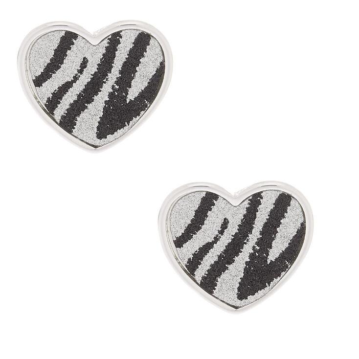 Silver Glitter Zebra Heart Stud Earrings,