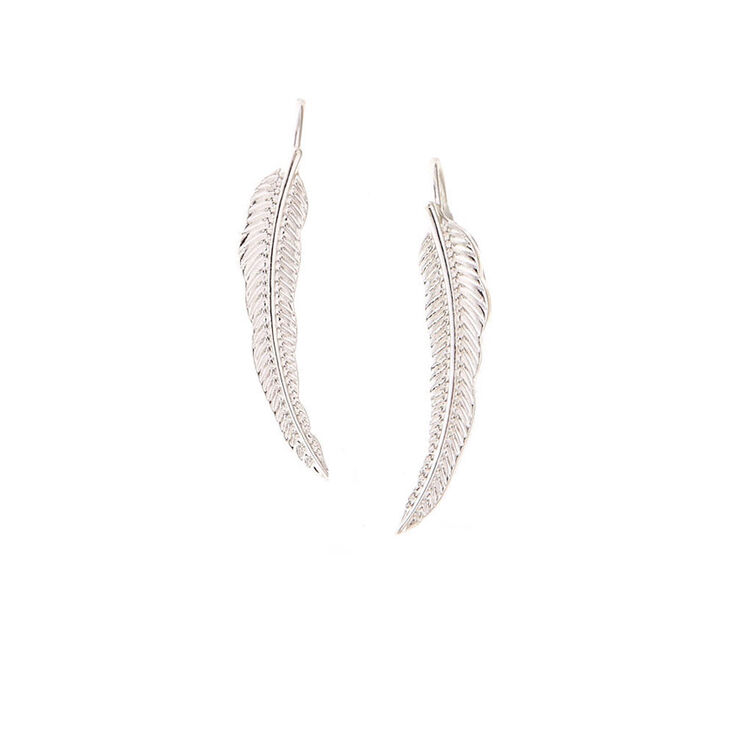 Silver-Tone Leaf Ear Crawler,