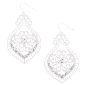 """2"""" Crochet Chandelier Drop Earrings - White,"""