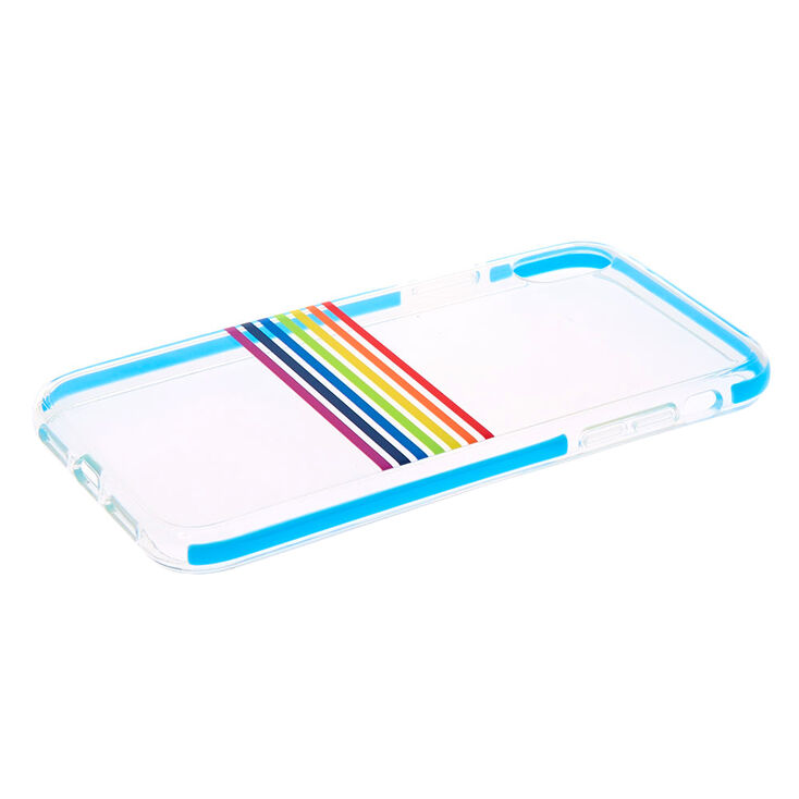 Rainbow Stripe Protective Phone Case - Fits iPhone XR,