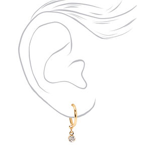 Gold Embellished Geometric Stud & Hoop Earrings - 6 Pack,