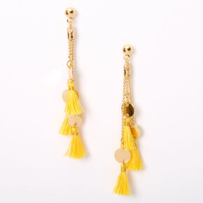 "Gold 2.5"" Disc Tassel Drop Earrings - Yellow,"