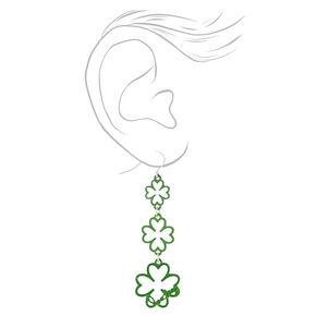 """Silver 2.5"""" Lucky Shamrock Drop Earrings,"""