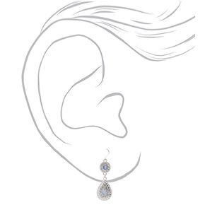 """Silver 2"""" Teardrop Embellished Drop Earrings - Blue,"""
