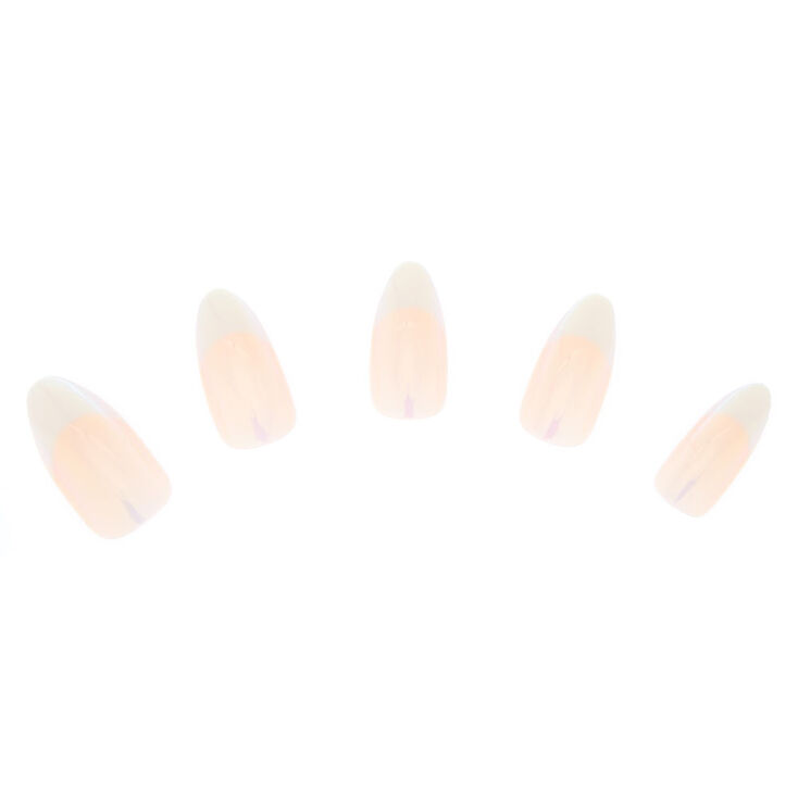 Holographic French Manicure Faux Nail Set - Beige, 24 Pack,