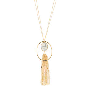 Gold Marble Oval Long Pendant Necklace,