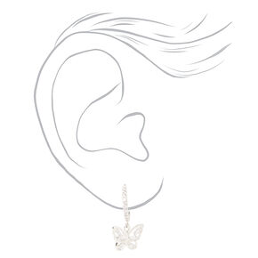 Silver Cubic Zirconia Textured Butterfly Jewelry Set - 2 Pack,
