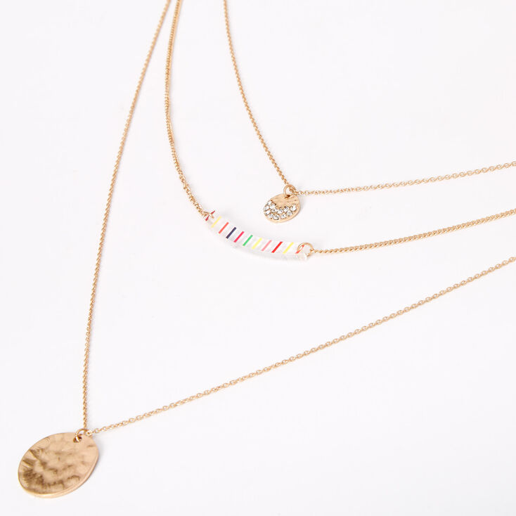 Gold Rainbow Striped Hammered Bar Multi Strand Necklace,