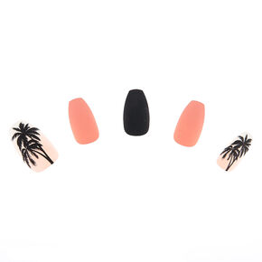 Matte Palm Tree Faux Nail Set - Pink, 24 Pack,