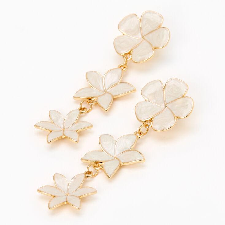 """Gold 2.5"""" Flower Linear Drop Earrings  - White,"""