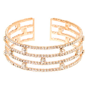 Rose Gold Rhinestone Stacked Cuff Bracelet,