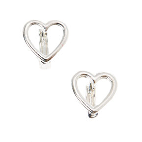 Silver 10MM Heart Hoop Earrings,