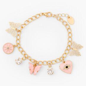 Gold Butterfly Evil Eye Charm Bracelet - Pink,