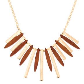 Gold Wooden Bar Statement Necklace,