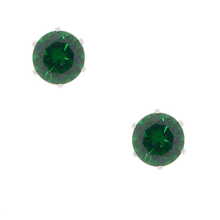Cubic Zirconia 8MM Stud Earrings - Green,