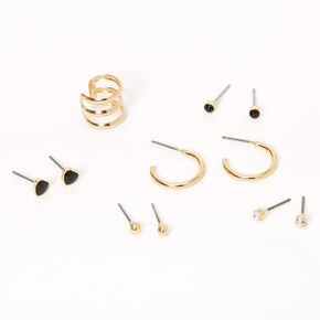 Gold Ball Heart Ear Cuff & Mixed Earrings - Black, 6 Pack,