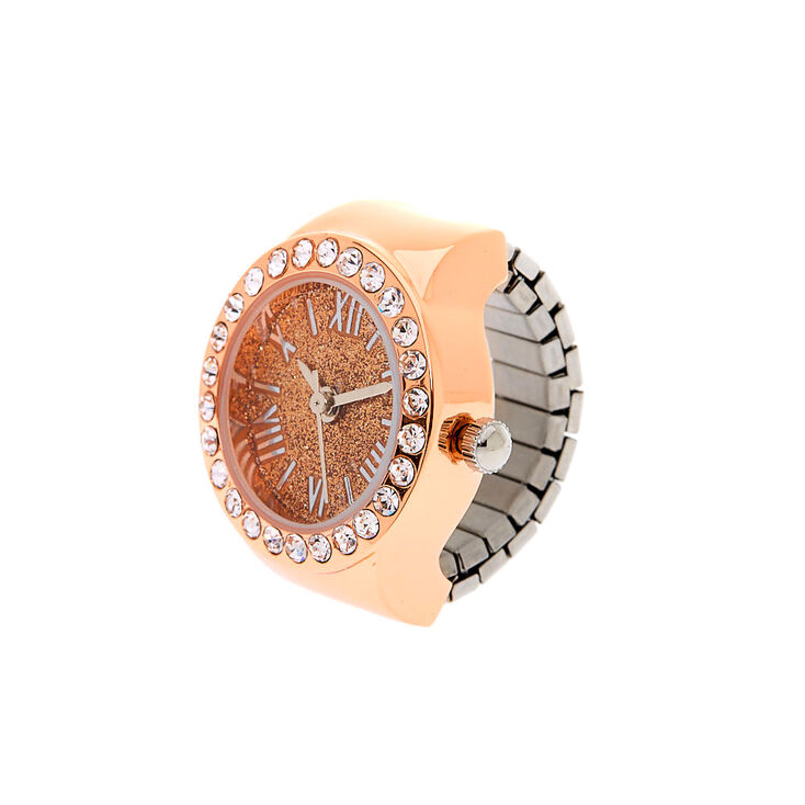 Rose Gold Glitter Ring Watch,