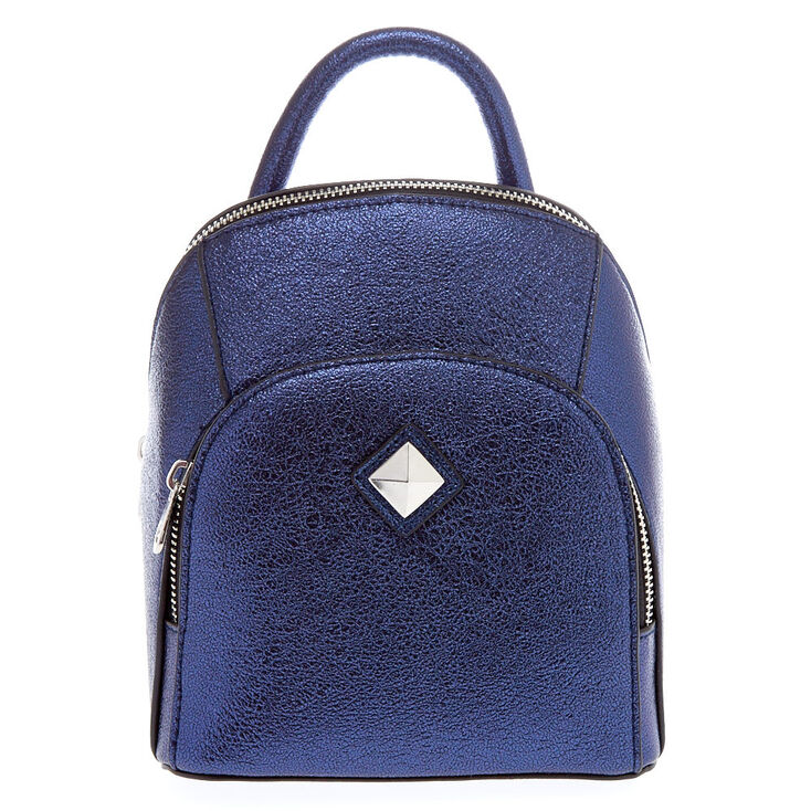 Blue Faux Leather Metallic Sheen Mini Two Way Crossbody Backpack,
