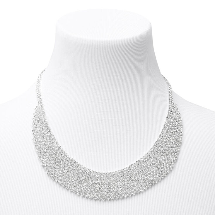 Silver Rhinestone Cleopatra Bib Statement Necklace,