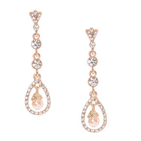 Rose Gold Blush Pearl Drop Earrings,