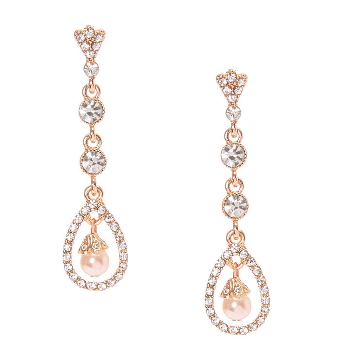 Rose Gold Blush Pearl Drop Earrings,