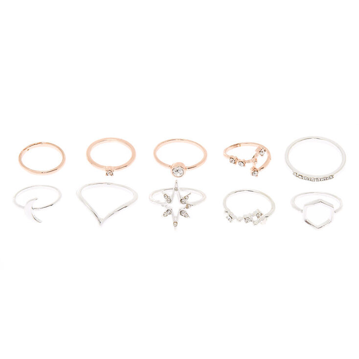 Mixed Metal Cosmic Multi-Size Rings - 10 Pack,