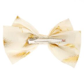 Gold Leaf Blush Bow Hair Clip,