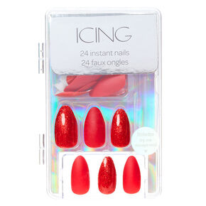 Glitter & Matte Stiletto Faux Nail Set - Red, 24 Pack,