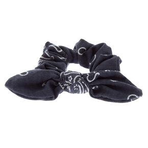 Paisley Print Bandana Bow Hair Scrunchie - Slate Gray,