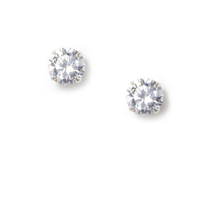 7MM Round Cubic Zirconia Sterling Silver Martini Set Stud Earrings,