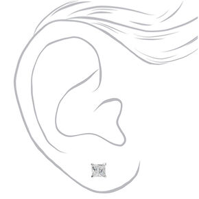 Sterling Silver Cubic Zirconia 4MM Square Stud Earrings,