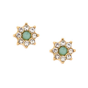 Crystal Starbust Magnetic Earrings - Green,