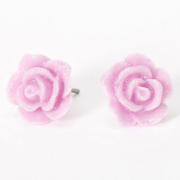 Glitter Rose Stud Earrings - Purple,