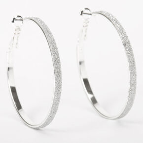 Silver 40MM Thin Glitter Hoop Earrings,