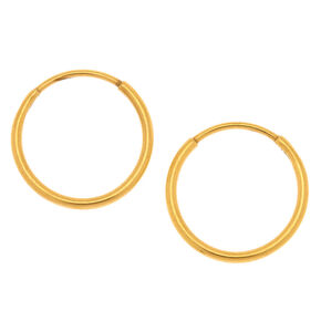 Gold Titanium 12MM Sleek Hoop Earrings,