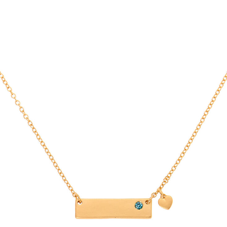 Gold March Birthstone Bar Pendant Necklace - Aquamarine,