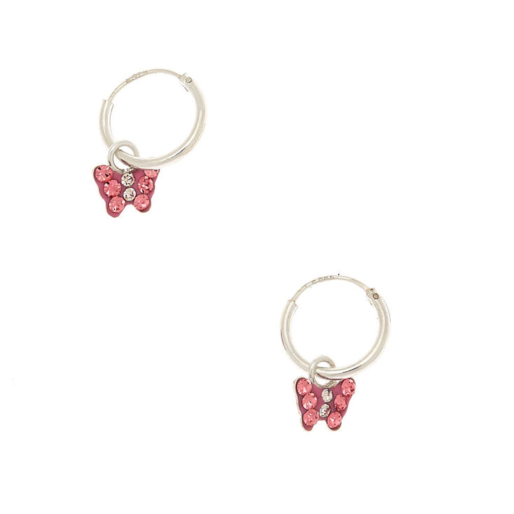 Sterling Silver Butterfly Hoop Earrings - Pink,