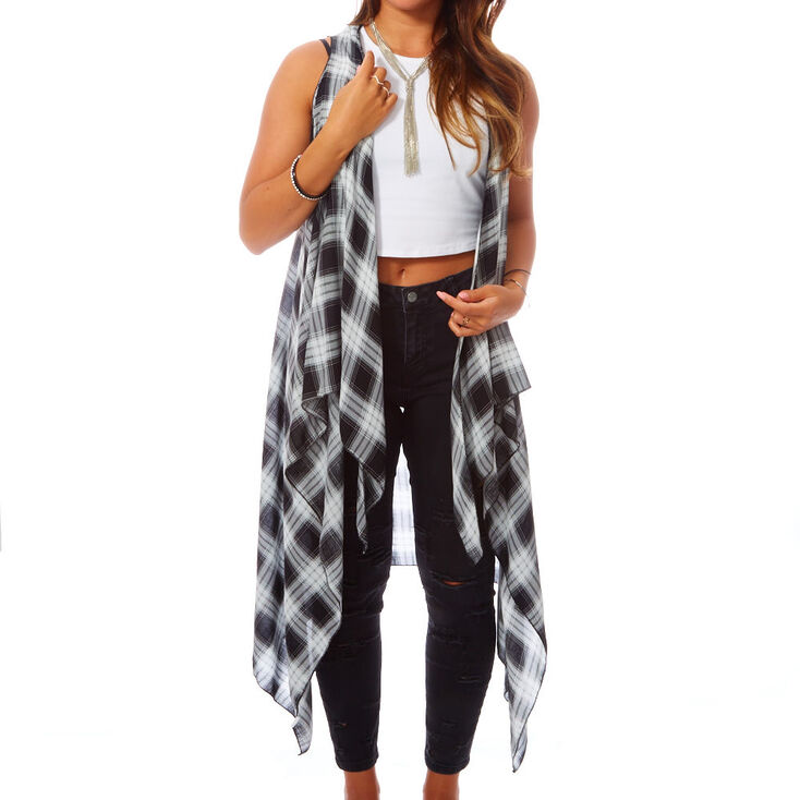 Sheer Black & White Plaid Shawl,