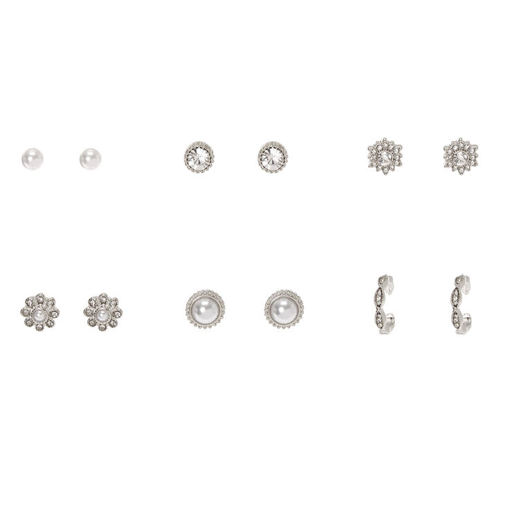 Silver Faux Pearl Fancy Stud Earrings - 6 Pack,