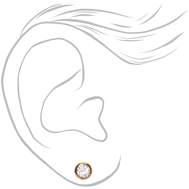 18kt Gold Plated Cubic Zirconia 7MM Round Bezel Stud Earrings,