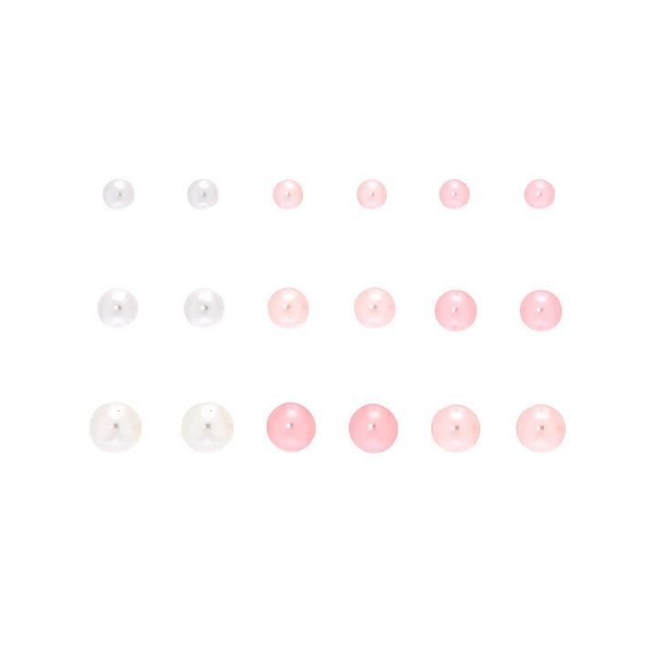 Graduated Pearl Stud Earrings - Pink, 9 Pack,